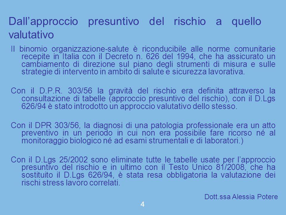 Il binomio organizzazione-salute è riconducibile alle norme comunitarie recepite in Italia con il Decreto n. 626 del 1994, che ha assicurato un cambia