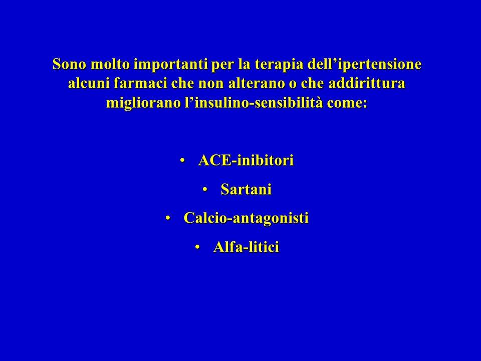 Sono molto importanti per la terapia dellipertensione alcuni farmaci che non alterano o che addirittura migliorano linsulino-sensibilità come: ACE-inibitoriACE-inibitori SartaniSartani Calcio-antagonistiCalcio-antagonisti Alfa-liticiAlfa-litici