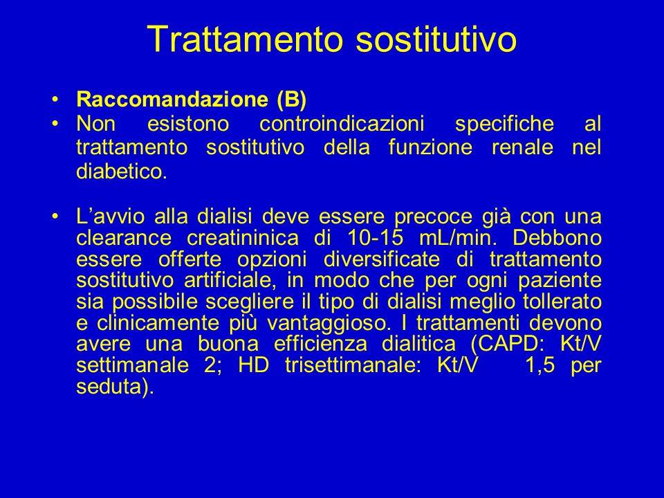 Trattamento sostitutivo Raccomandazione (B) Non esistono controindicazioni specifiche al trattamento sostitutivo della funzione renale nel diabetico.