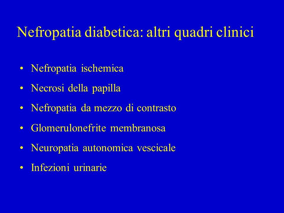 Nefropatia diabetica: altri quadri clinici Nefropatia ischemica Necrosi della papilla Nefropatia da mezzo di contrasto Glomerulonefrite membranosa Neuropatia autonomica vescicale Infezioni urinarie