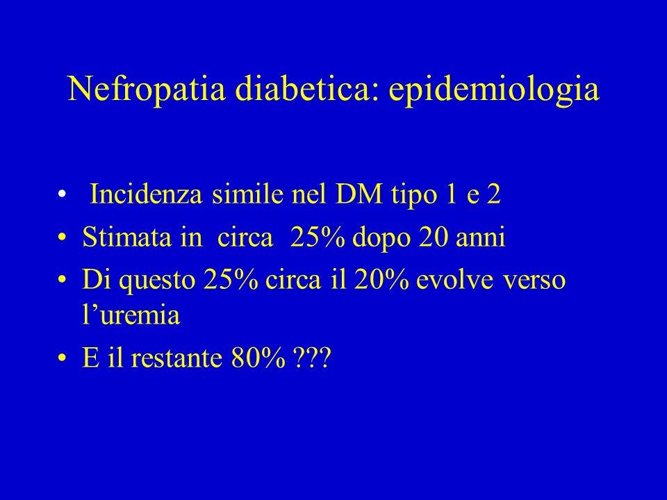 Nefropatia diabetica: epidemiologia Incidenza simile nel DM tipo 1 e 2 Stimata in circa 25% dopo 20 anni Di questo 25% circa il 20% evolve verso luremia E il restante 80% ???