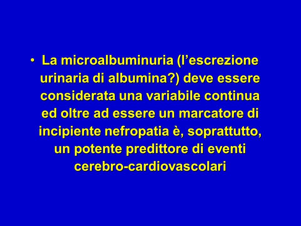 La microalbuminuria (lescrezione urinaria di albumina?) deve essere considerata una variabile continua ed oltre ad essere un marcatore di incipiente nefropatia è, soprattutto, un potente predittore di eventi cerebro-cardiovascolariLa microalbuminuria (lescrezione urinaria di albumina?) deve essere considerata una variabile continua ed oltre ad essere un marcatore di incipiente nefropatia è, soprattutto, un potente predittore di eventi cerebro-cardiovascolari