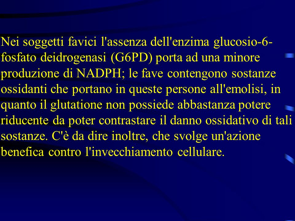 Nei soggetti favici l'assenza dell'enzima glucosio-6- fosfato deidrogenasi (G6PD) porta ad una minore produzione di NADPH; le fave contengono sostanze