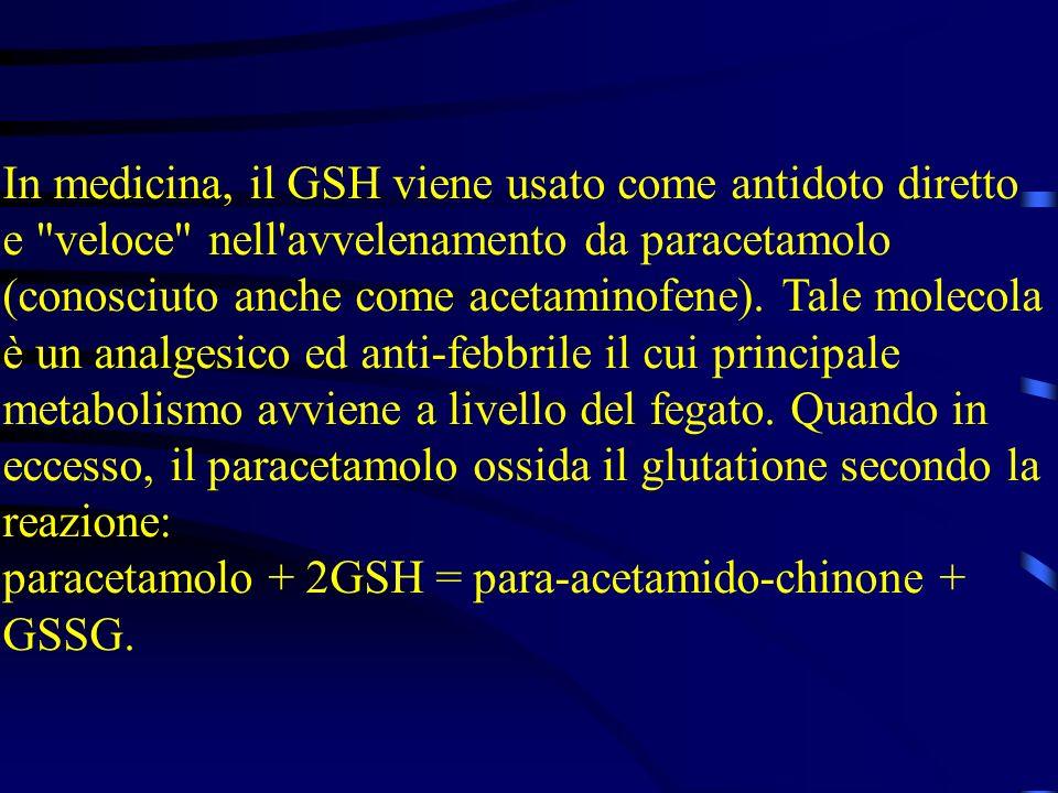In medicina, il GSH viene usato come antidoto diretto e
