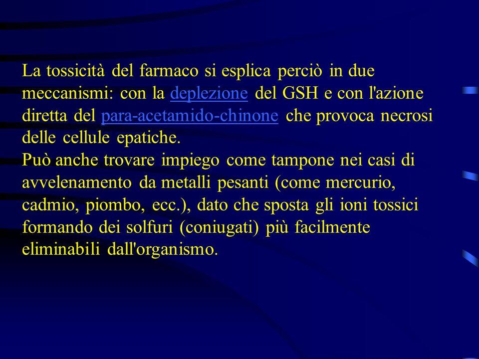 La tossicità del farmaco si esplica perciò in due meccanismi: con la deplezione del GSH e con l'azione diretta del para-acetamido-chinone che provoca