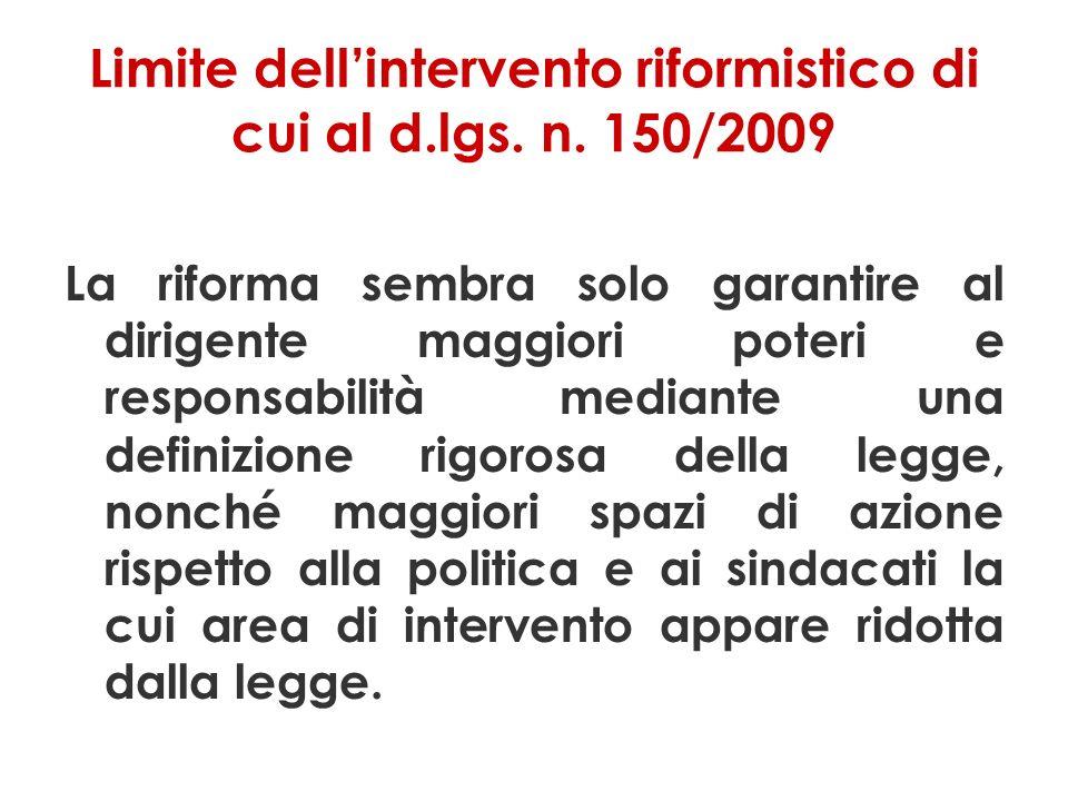 Limite dellintervento riformistico di cui al d.lgs.