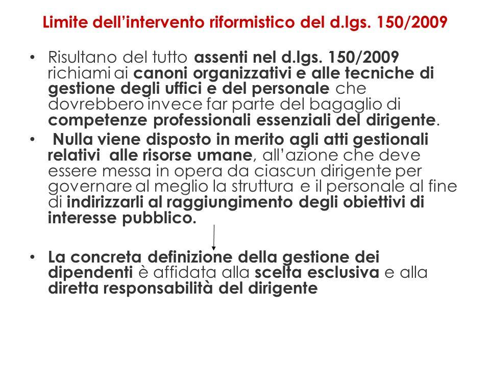 Limite dellintervento riformistico del d.lgs.150/2009 Risultano del tutto assenti nel d.lgs.