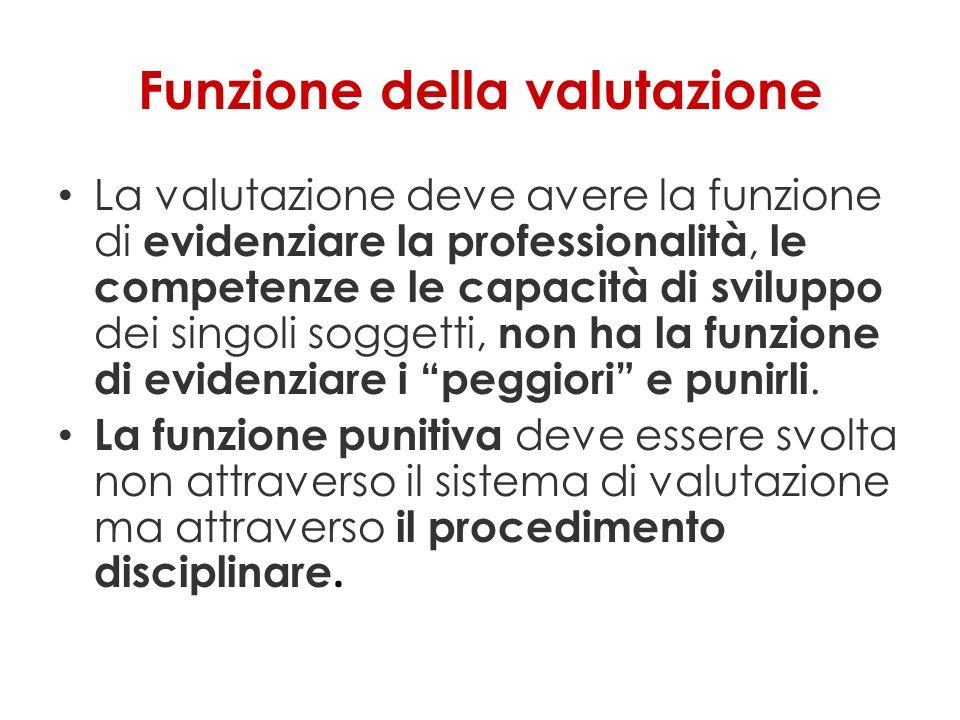 Funzione della valutazione La valutazione deve avere la funzione di evidenziare la professionalità, le competenze e le capacità di sviluppo dei singoli soggetti, non ha la funzione di evidenziare i peggiori e punirli.