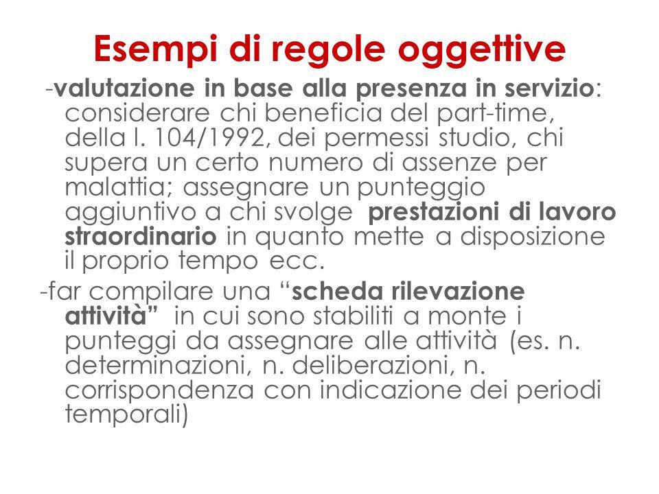 Esempi di regole oggettive - valutazione in base alla presenza in servizio : considerare chi beneficia del part-time, della l.