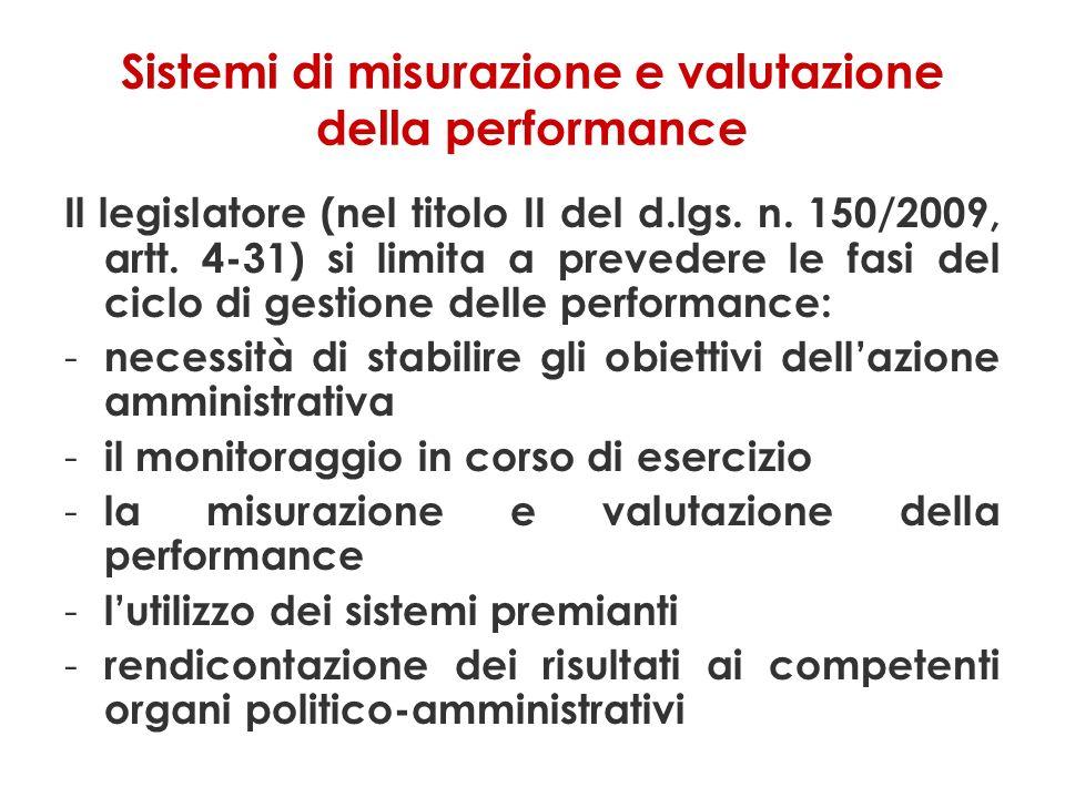 Sistemi di misurazione e valutazione della performance Il legislatore (nel titolo II del d.lgs.