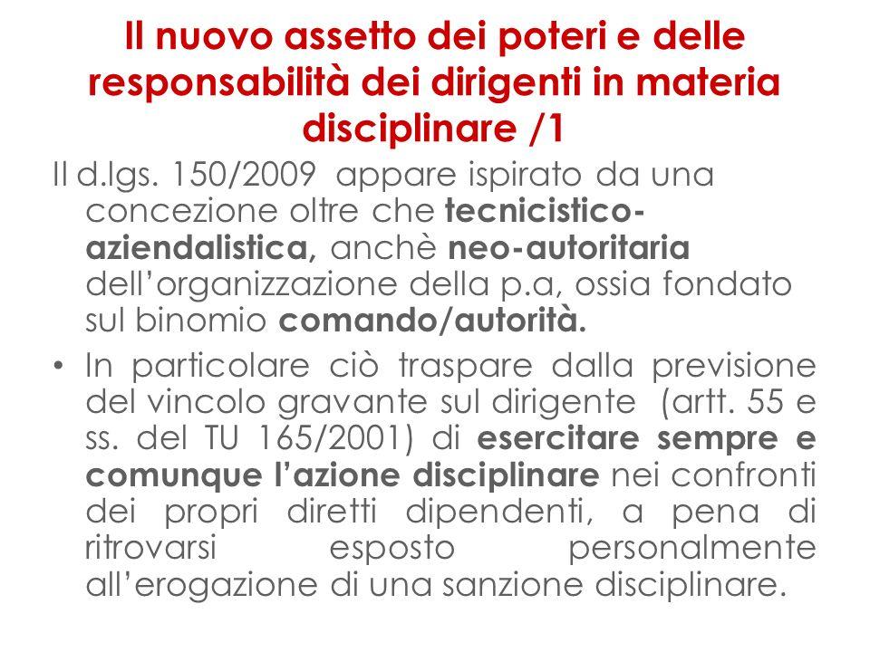 Il nuovo assetto dei poteri e delle responsabilità dei dirigenti in materia disciplinare /1 Il d.lgs.