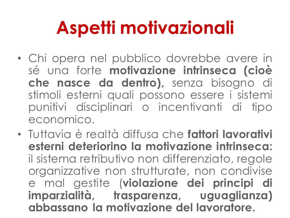 Aspetti motivazionali Chi opera nel pubblico dovrebbe avere in sé una forte motivazione intrinseca (cioè che nasce da dentro), senza bisogno di stimoli esterni quali possono essere i sistemi punitivi disciplinari o incentivanti di tipo economico.