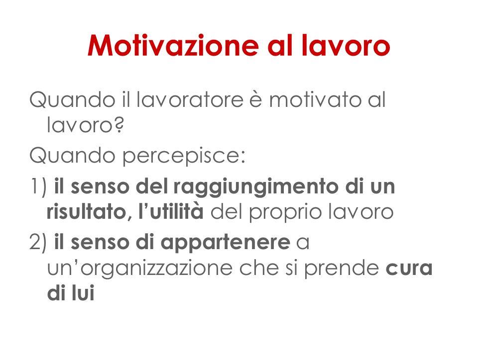 Motivazione al lavoro Quando il lavoratore è motivato al lavoro.