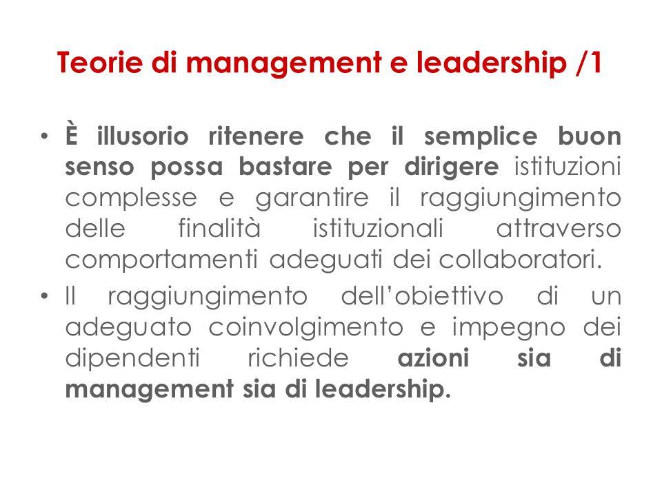 Teorie di management e leadership /1 È illusorio ritenere che il semplice buon senso possa bastare per dirigere istituzioni complesse e garantire il raggiungimento delle finalità istituzionali attraverso comportamenti adeguati dei collaboratori.
