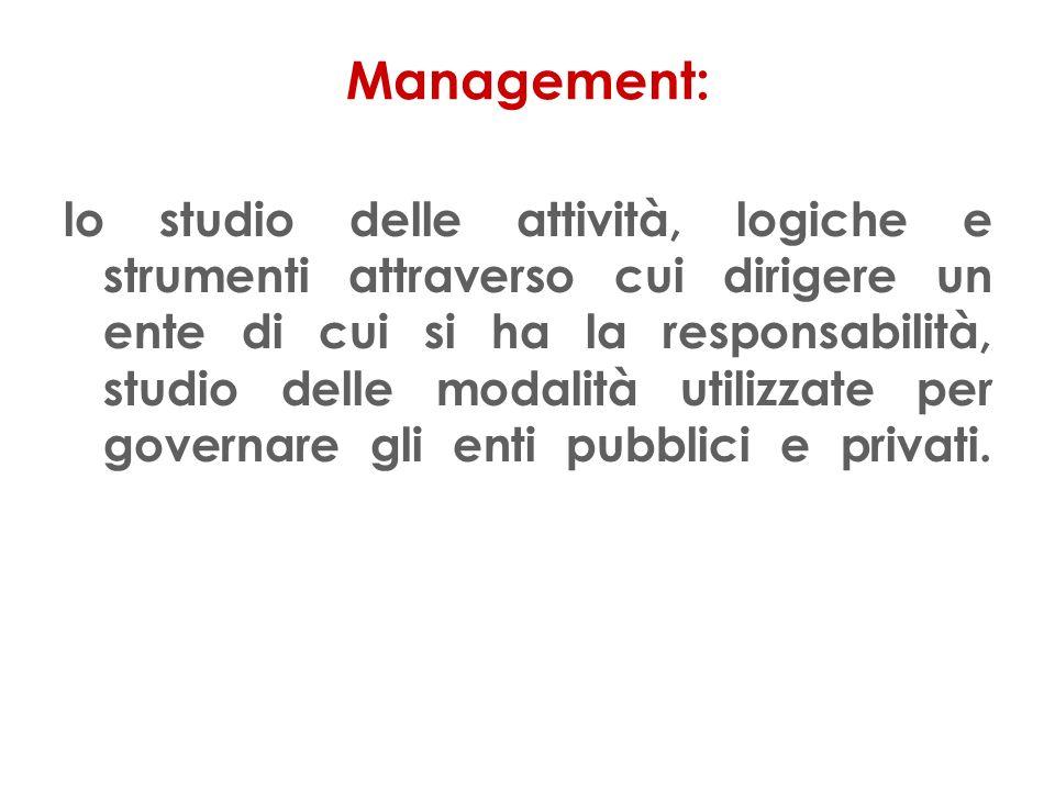 Management: lo studio delle attività, logiche e strumenti attraverso cui dirigere un ente di cui si ha la responsabilità, studio delle modalità utilizzate per governare gli enti pubblici e privati.