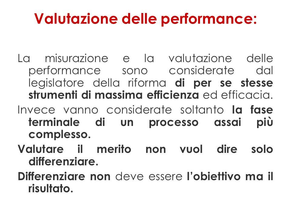 Valutazione delle performance: La misurazione e la valutazione delle performance sono considerate dal legislatore della riforma di per se stesse strumenti di massima efficienza ed efficacia.