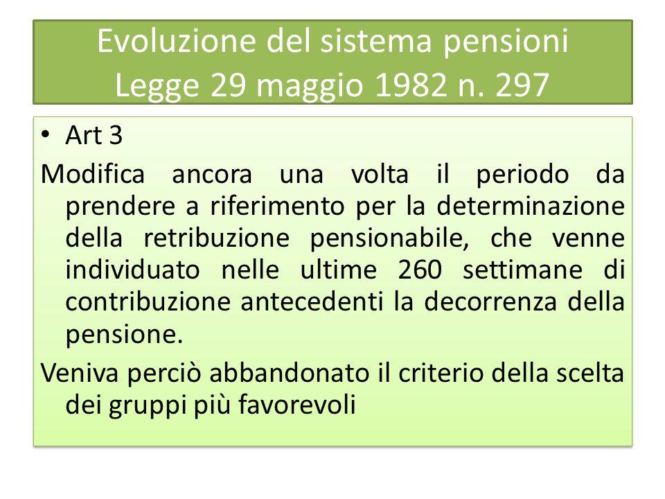 Evoluzione del sistema pensioni Legge 29 maggio 1982 n. 297 Art 3 Modifica ancora una volta il periodo da prendere a riferimento per la determinazione