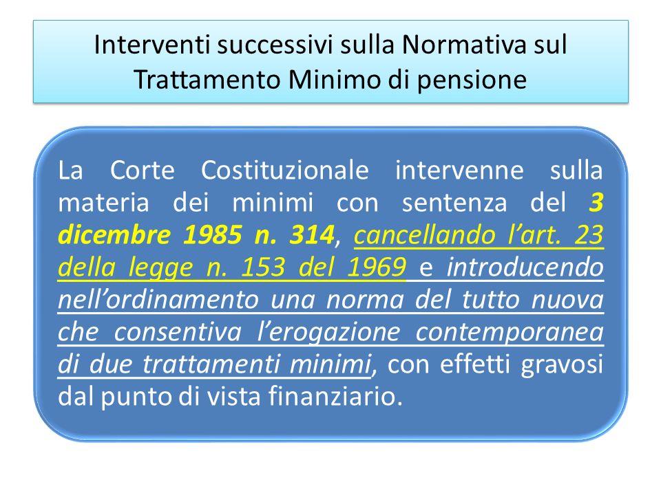 Interventi successivi sulla Normativa sul Trattamento Minimo di pensione La Corte Costituzionale intervenne sulla materia dei minimi con sentenza del