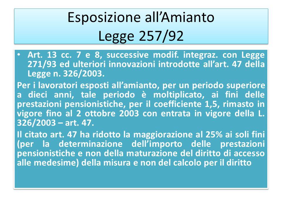 Esposizione allAmianto Legge 257/92 Art. 13 cc. 7 e 8, successive modif. integraz. con Legge 271/93 ed ulteriori innovazioni introdotte allart. 47 del