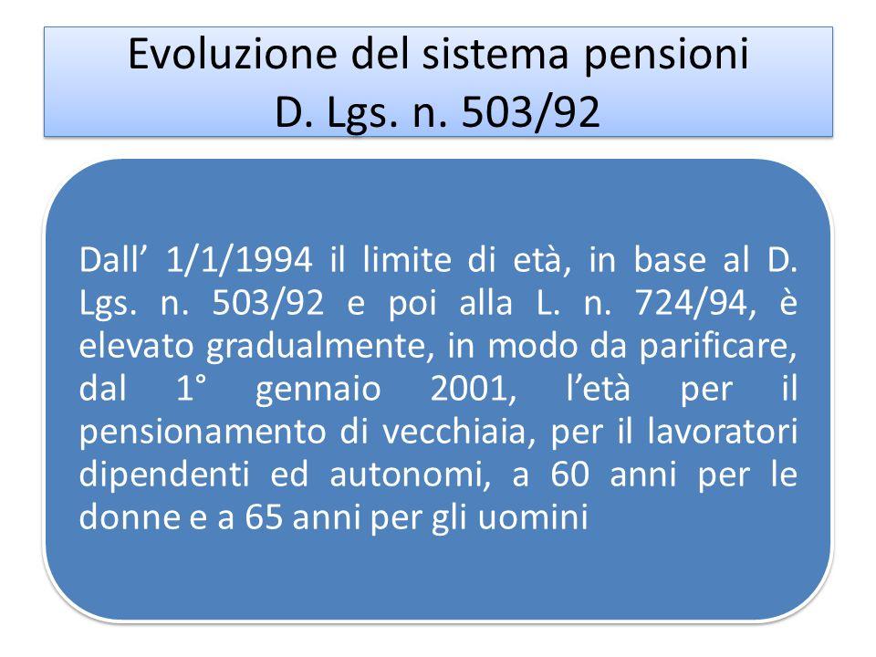Evoluzione del sistema pensioni D. Lgs. n. 503/92 Dall 1/1/1994 il limite di età, in base al D. Lgs. n. 503/92 e poi alla L. n. 724/94, è elevato grad