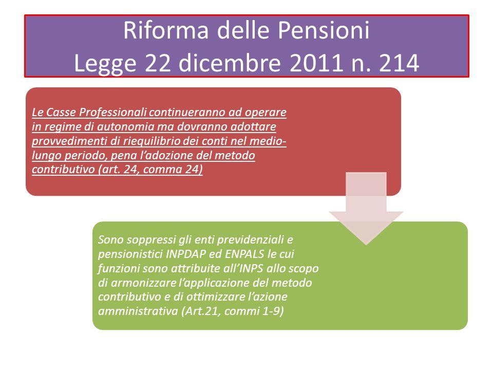 Riforma delle Pensioni Legge 22 dicembre 2011 n. 214 Le Casse Professionali continueranno ad operare in regime di autonomia ma dovranno adottare provv