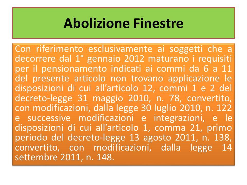 Abolizione Finestre Con riferimento esclusivamente ai soggetti che a decorrere dal 1° gennaio 2012 maturano i requisiti per il pensionamento indicati