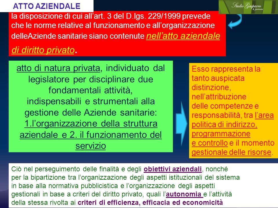 la disposizione di cui allart. 3 del D.lgs. 229/1999 prevede che le norme relative al funzionamento e allorganizzazione delleAziende sanitarie siano c
