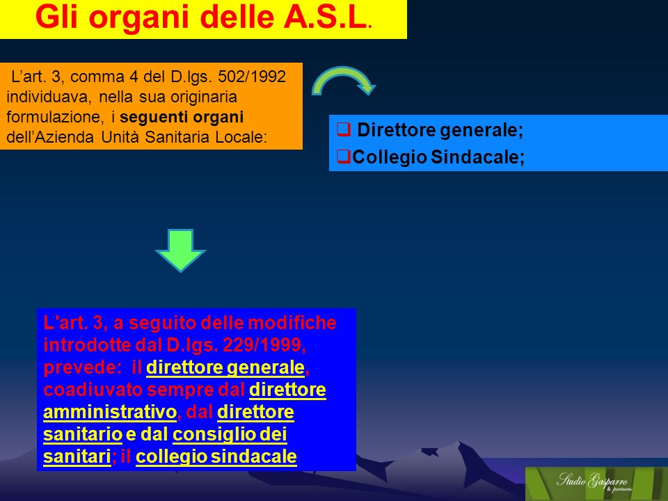 Gli organi delle A.S.L. Lart. 3, comma 4 del D.lgs. 502/1992 individuava, nella sua originaria formulazione, i seguenti organi dellAzienda Unità Sanit