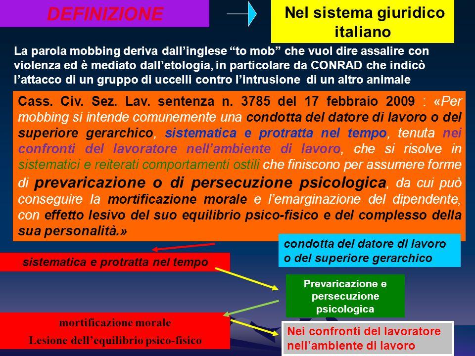 sistematica e protratta nel tempo DEFINIZIONE Nel sistema giuridico italiano Prevaricazione e persecuzione psicologica Cass. Civ. Sez. Lav. sentenza n