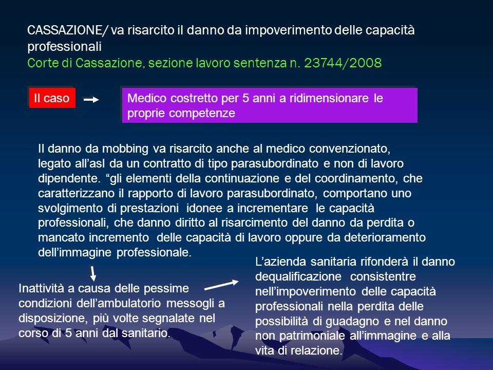 CASSAZIONE/ va risarcito il danno da impoverimento delle capacità professionali Corte di Cassazione, sezione lavoro sentenza n. 23744/2008 Il caso Med