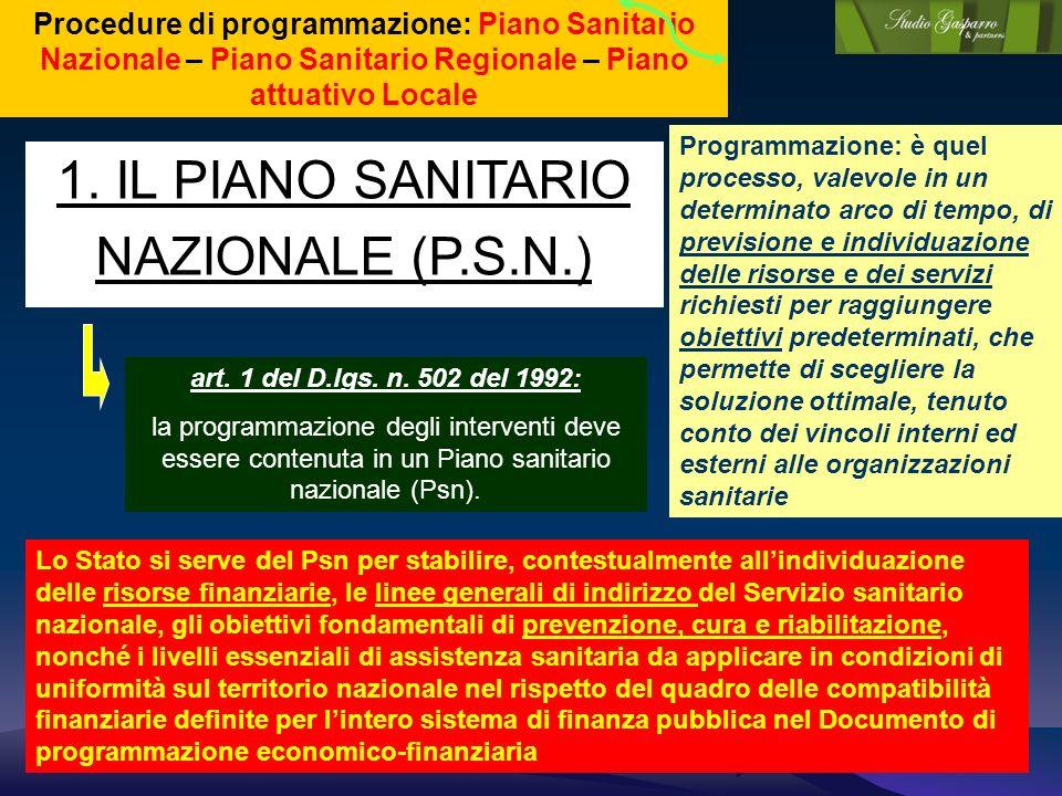 1. IL PIANO SANITARIO NAZIONALE (P.S.N.) Procedure di programmazione: Piano Sanitario Nazionale – Piano Sanitario Regionale – Piano attuativo Locale a