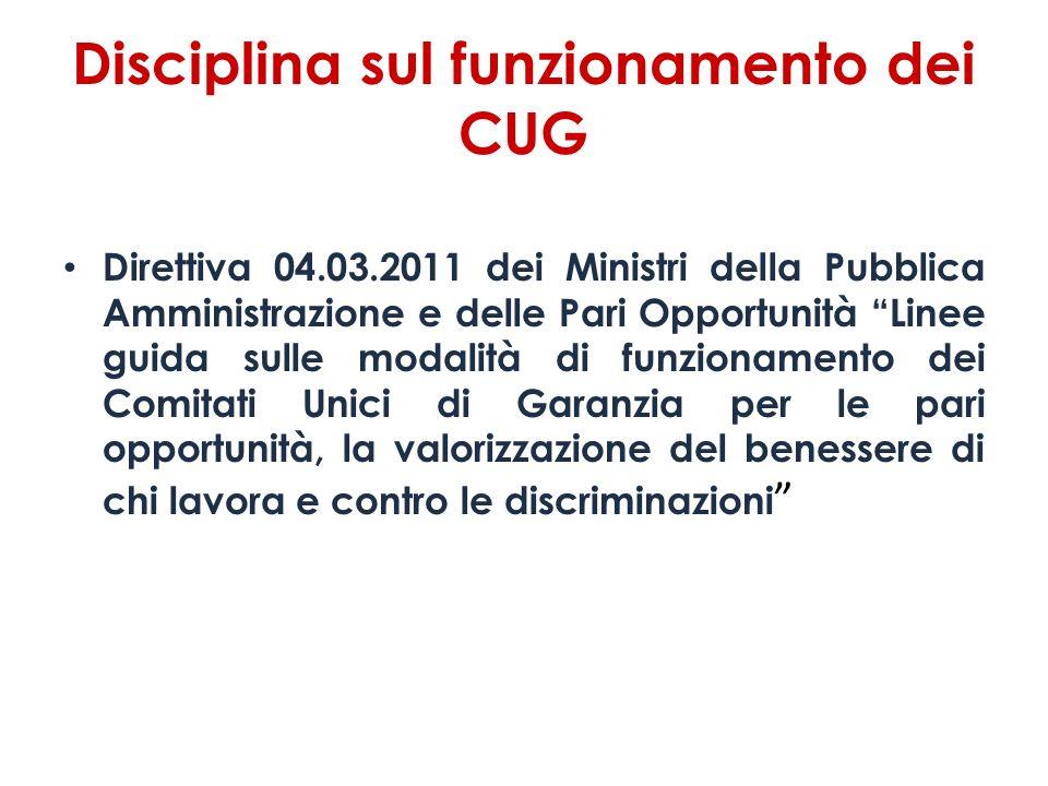 Disciplina sul funzionamento dei CUG Direttiva 04.03.2011 dei Ministri della Pubblica Amministrazione e delle Pari Opportunità Linee guida sulle modal