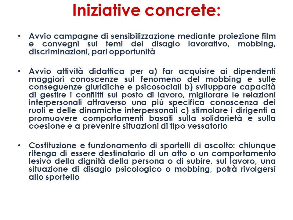 Iniziative concrete: Avvio campagne di sensibilizzazione mediante proiezione film e convegni sui temi del disagio lavorativo, mobbing, discriminazioni