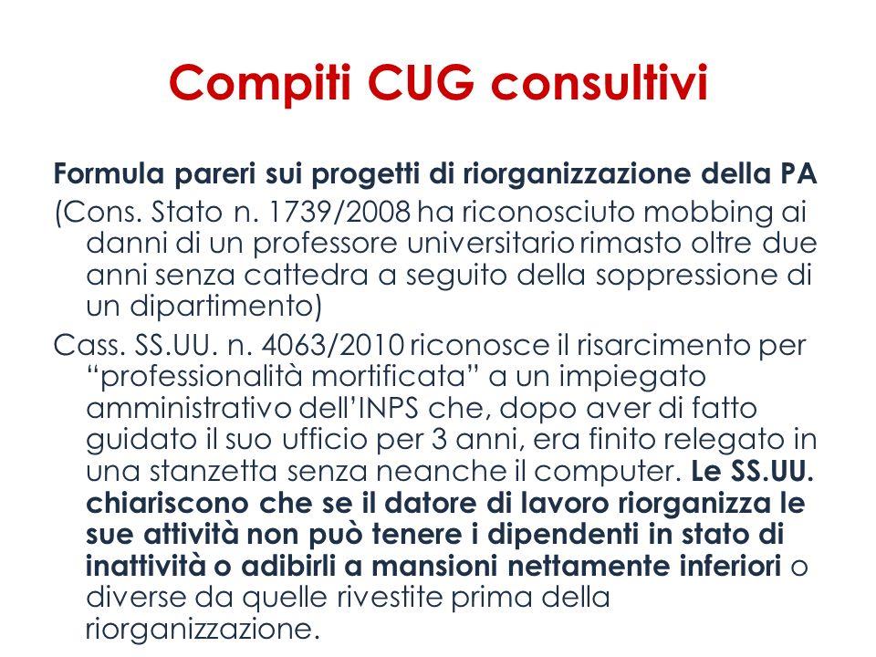 Compiti CUG consultivi Formula pareri sui progetti di riorganizzazione della PA (Cons. Stato n. 1739/2008 ha riconosciuto mobbing ai danni di un profe