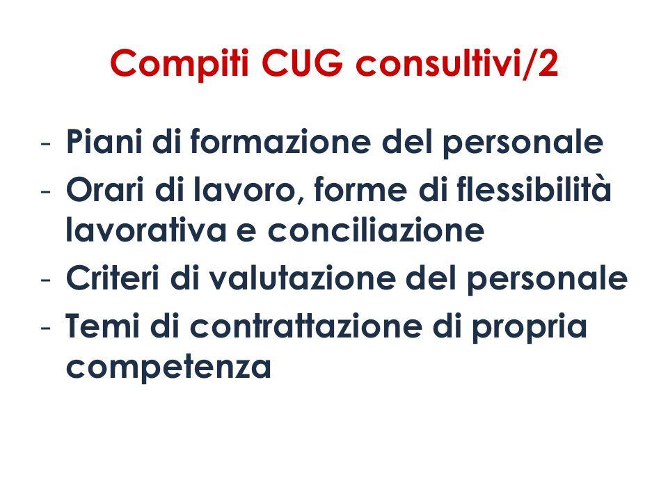 Compiti CUG consultivi/2 - Piani di formazione del personale - Orari di lavoro, forme di flessibilità lavorativa e conciliazione - Criteri di valutazi