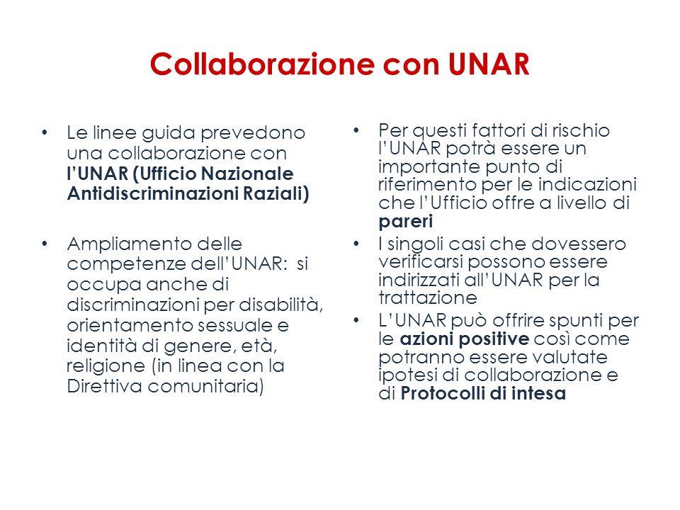 Collaborazione con UNAR Le linee guida prevedono una collaborazione con lUNAR (Ufficio Nazionale Antidiscriminazioni Raziali) Ampliamento delle compet