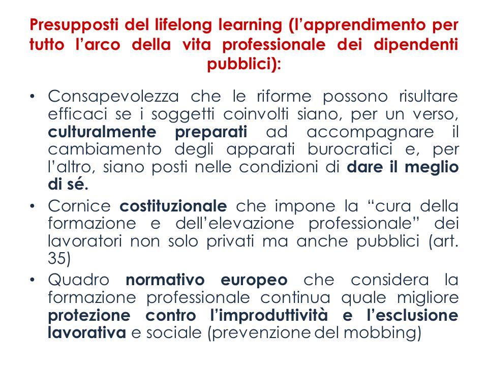 Presupposti del lifelong learning (lapprendimento per tutto larco della vita professionale dei dipendenti pubblici): Consapevolezza che le riforme pos