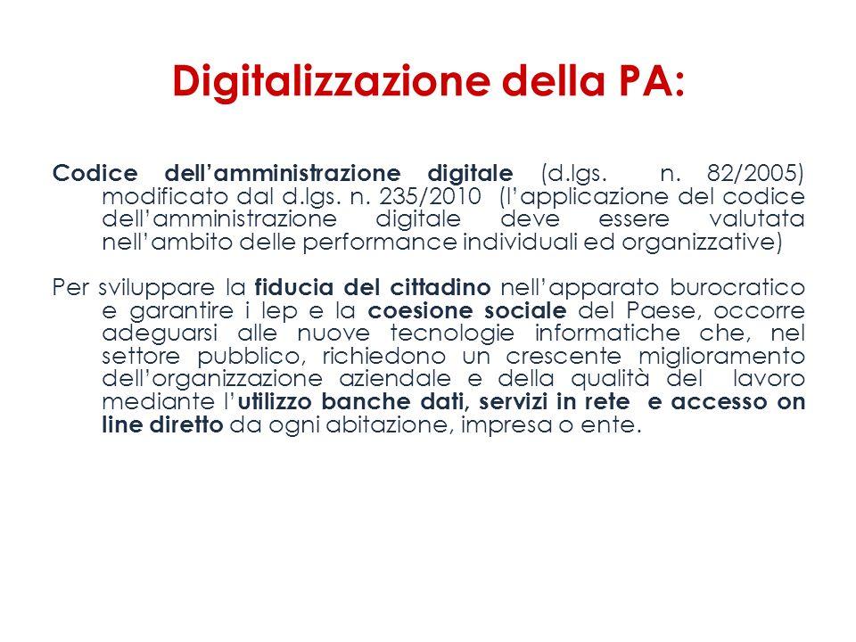 Digitalizzazione della PA: Codice dellamministrazione digitale (d.lgs. n. 82/2005) modificato dal d.lgs. n. 235/2010 (lapplicazione del codice dellamm