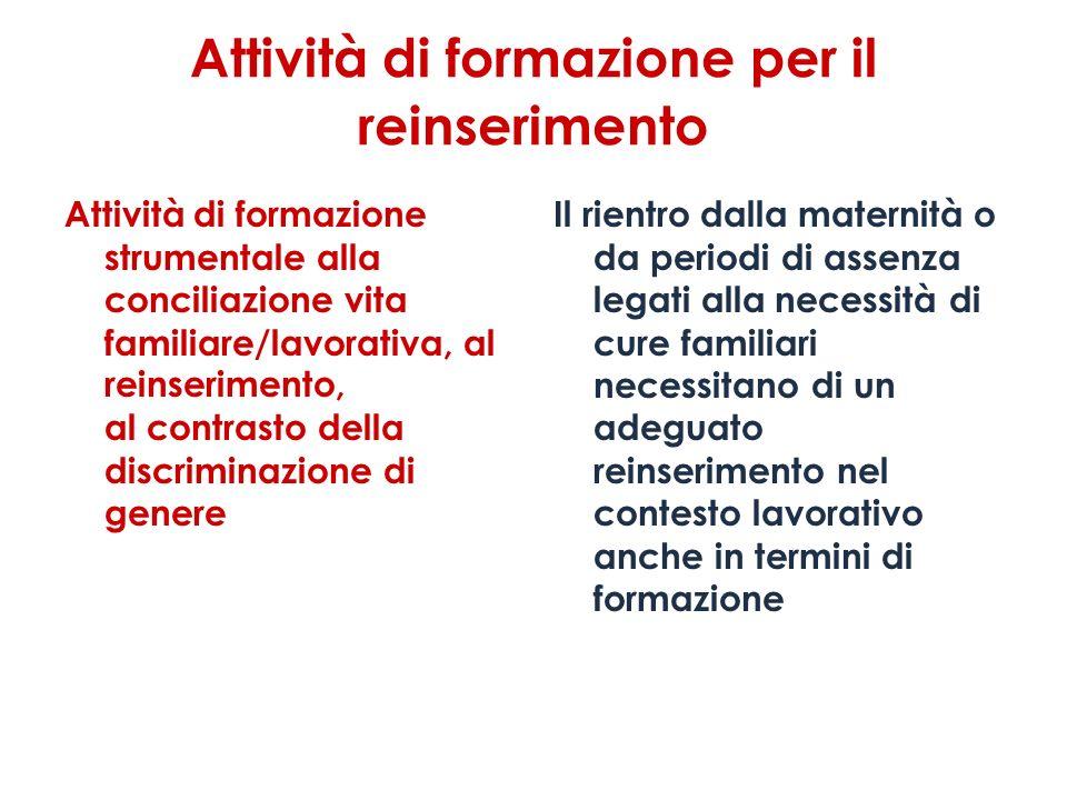 Attività di formazione per il reinserimento Attività di formazione strumentale alla conciliazione vita familiare/lavorativa, al reinserimento, al cont