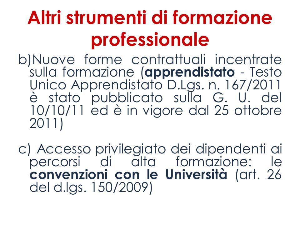 Altri strumenti di formazione professionale b)Nuove forme contrattuali incentrate sulla formazione ( apprendistato - Testo Unico Apprendistato D.Lgs.