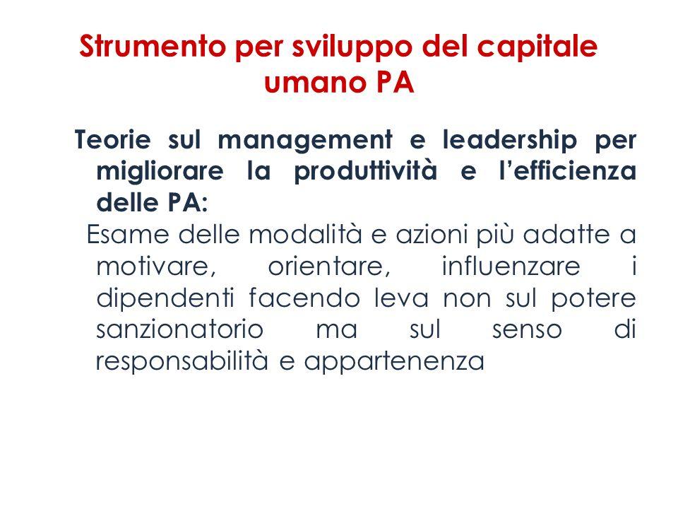 Strumento per sviluppo del capitale umano PA Teorie sul management e leadership per migliorare la produttività e lefficienza delle PA: Esame delle mod