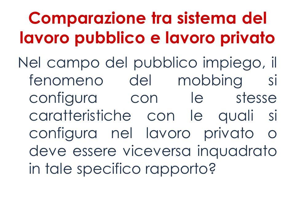 Comparazione tra sistema del lavoro pubblico e lavoro privato Nel campo del pubblico impiego, il fenomeno del mobbing si configura con le stesse carat