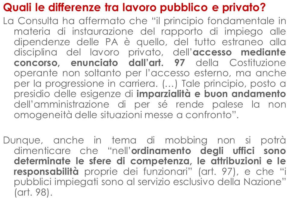 Quali le differenze tra lavoro pubblico e privato? La Consulta ha affermato che il principio fondamentale in materia di instaurazione del rapporto di