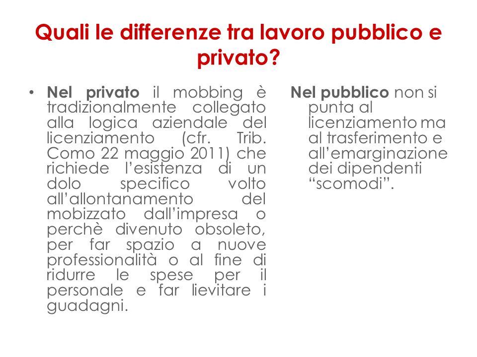 Quali le differenze tra lavoro pubblico e privato? Nel privato il mobbing è tradizionalmente collegato alla logica aziendale del licenziamento (cfr. T