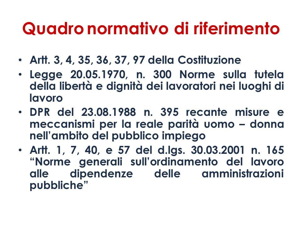Quadro normativo di riferimento Artt. 3, 4, 35, 36, 37, 97 della Costituzione Legge 20.05.1970, n. 300 Norme sulla tutela della libertà e dignità dei