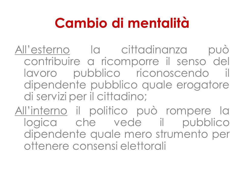 Cambio di mentalità Allesterno la cittadinanza può contribuire a ricomporre il senso del lavoro pubblico riconoscendo il dipendente pubblico quale ero