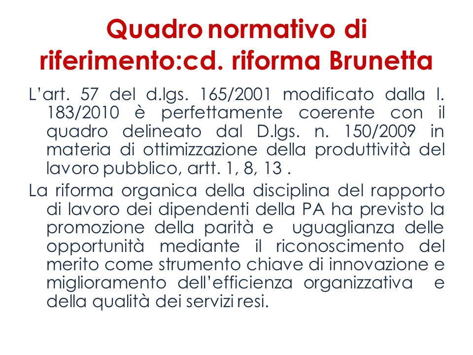 Quadro normativo di riferimento:cd. riforma Brunetta Lart. 57 del d.lgs. 165/2001 modificato dalla l. 183/2010 è perfettamente coerente con il quadro
