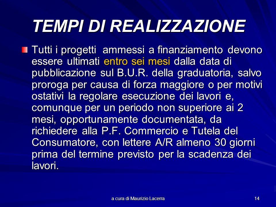 a cura di Maurizio Lacerra 14 TEMPI DI REALIZZAZIONE Tutti i progetti ammessi a finanziamento devono essere ultimati entro sei mesi dalla data di pubb