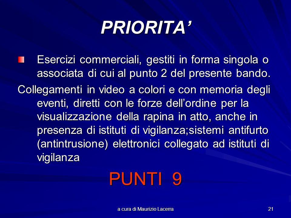 a cura di Maurizio Lacerra 21 PRIORITA Esercizi commerciali, gestiti in forma singola o associata di cui al punto 2 del presente bando.