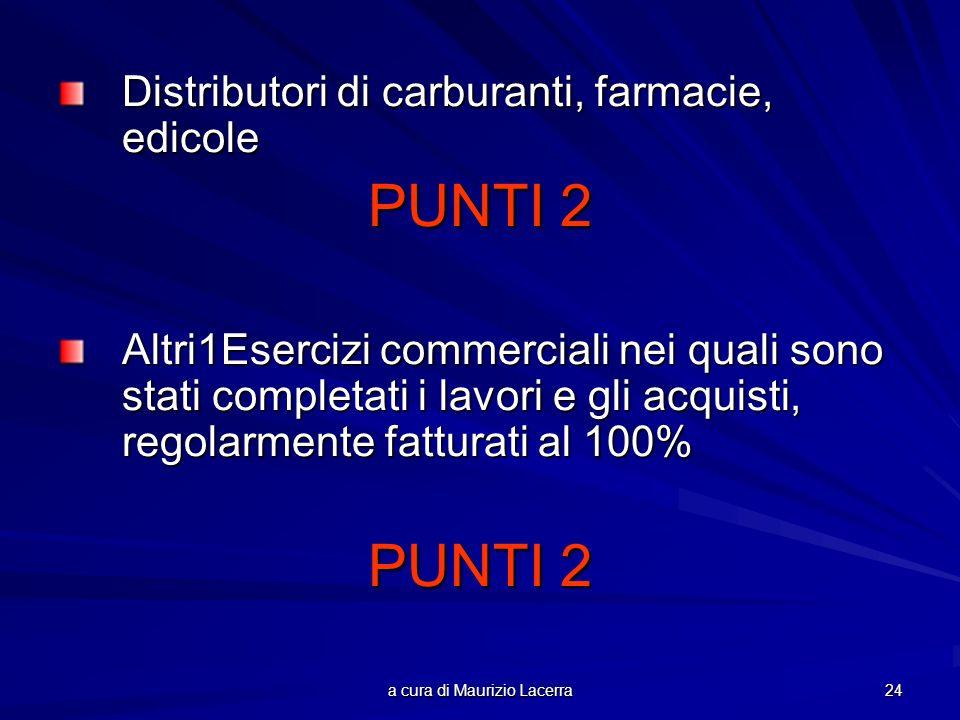 a cura di Maurizio Lacerra 24 Distributori di carburanti, farmacie, edicole PUNTI 2 Altri1Esercizi commerciali nei quali sono stati completati i lavor